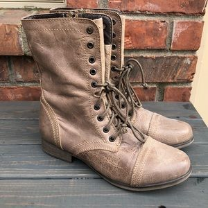 Steve Madden Worn Leather Zip Up Combat Boots